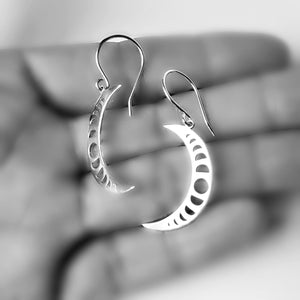 Sterling Silver Crescent Moon With Moon Phases Earrings -- EF0065