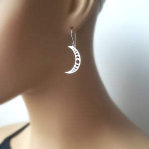Sterling Silver Crescent Moon with Moon Phases Charm -- EF0066
