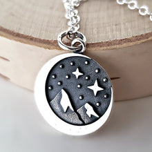 Load image into Gallery viewer, Sterling Silver Crescent Moon and Mountain Charm Necklace -- EF0067