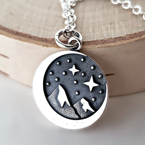 Sterling Silver Crescent Moon and Mountain Charm Necklace -- EF0067
