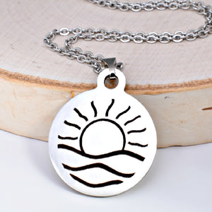 Stainless Steel Sunrise Necklace -- EF0069
