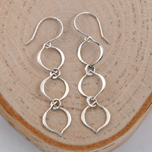 Load image into Gallery viewer, Sterling Silver 3 Link Dangle Earrings -- EF0073