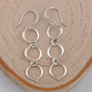 Sterling Silver 3 Link Dangle Earrings -- EF0073
