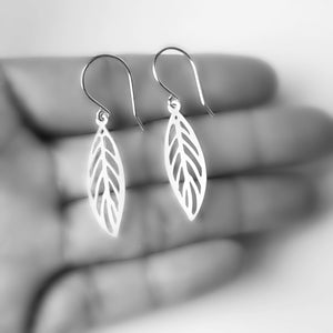 Sterling Silver Cutout Leaf Earrings -- EF0074