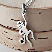 Load image into Gallery viewer, Sterling Silver Hanging Monkey Charm Necklace -- EF0075