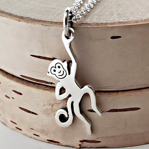 Sterling Silver Hanging Monkey Charm Necklace -- EF0075