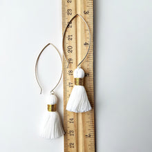 Load image into Gallery viewer, Gold Filled Dangle Earrings with Cotton Tassels -- EF0076