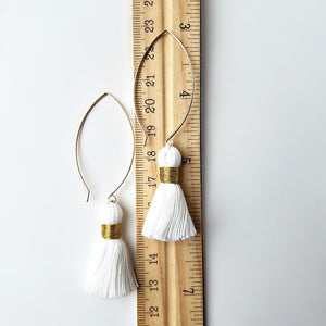 Gold Filled Dangle Earrings with Cotton Tassels -- EF0076