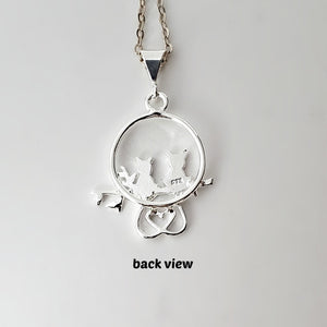 Sterling Silver Love Cats Charm -- EF0077