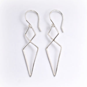 Sterling Silver Double Diamond Link Earrings -- EF0079