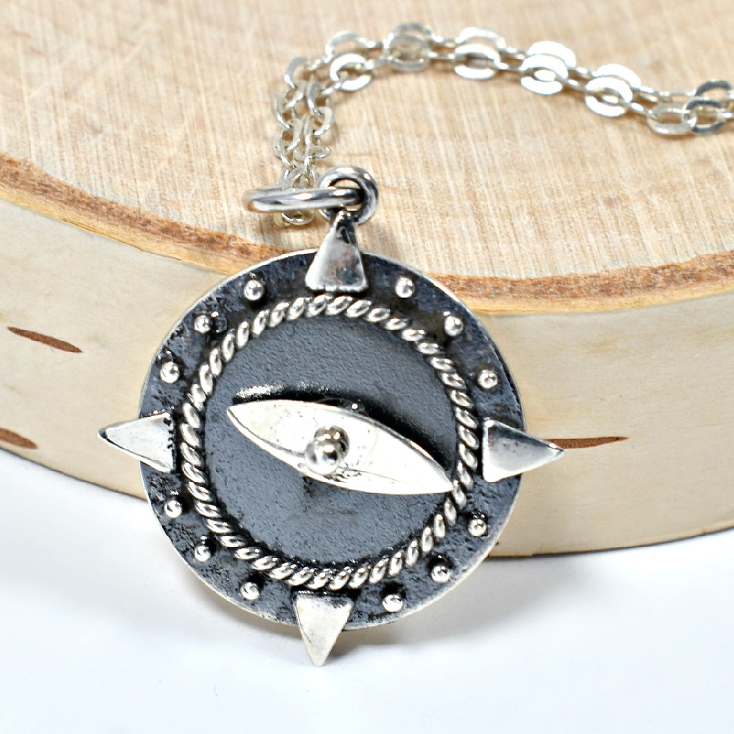 Sterling Silver Compass Charm Necklace with Spinning Needle -- EF0082