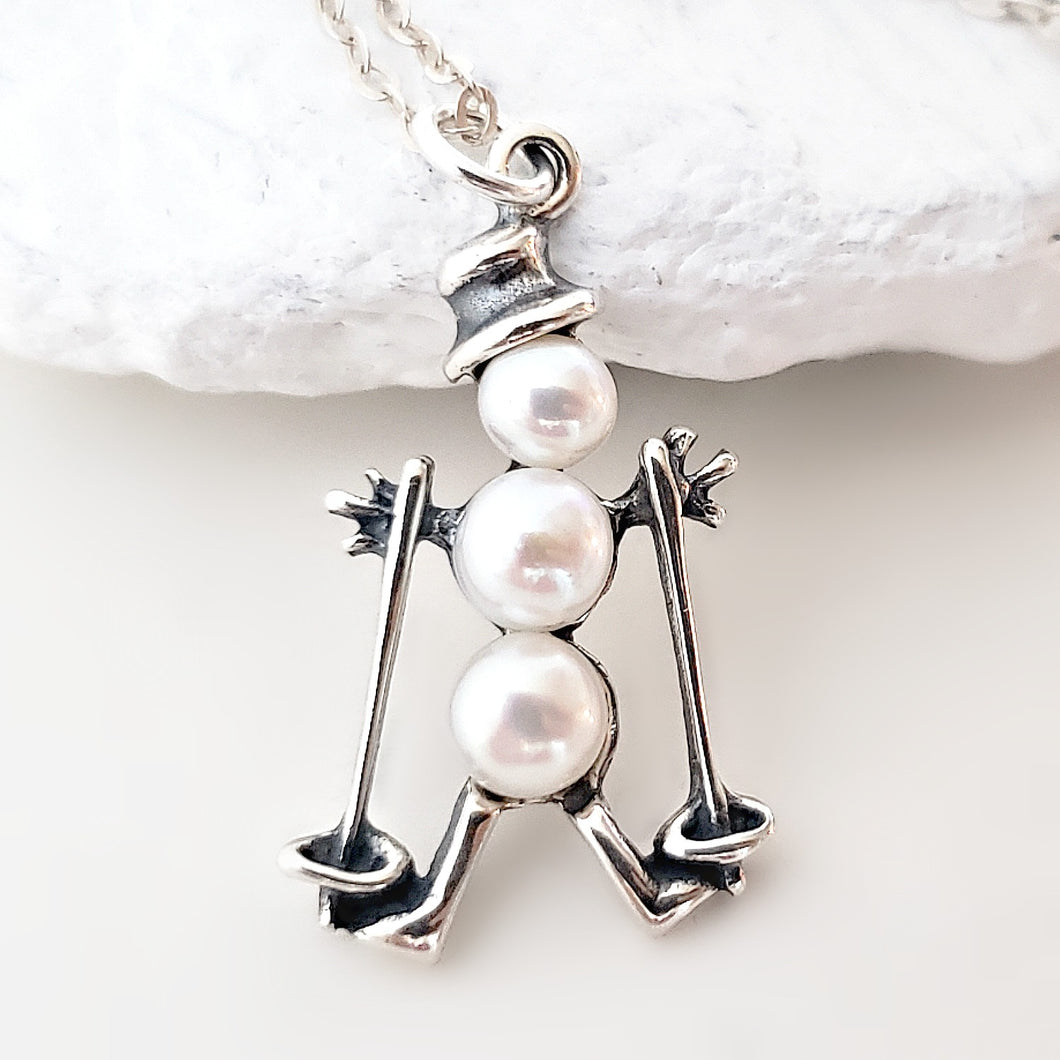 Silver and Pearls Skiing Snowman Charm Necklace -- EF0084