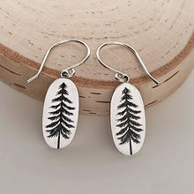 Load image into Gallery viewer, Sterling Silver Etched Pine Tree Dangle Earrings -- EF0091