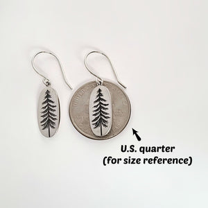 Sterling Silver Etched Pine Tree Dangle Earrings -- EF0091
