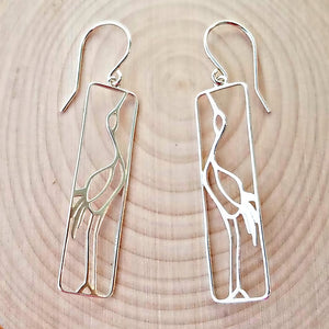 Sterling Silver Crane Earrings -- EF0092