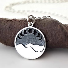 Load image into Gallery viewer, Sterling Silver Mountain with Moon Phases Charm Necklace -- EF0095