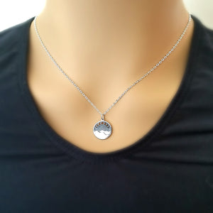 Sterling Silver Mountain with Moon Phases Charm Necklace -- EF0095