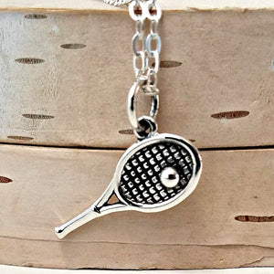 Sterling Silver Tennis Racket and Ball Charm Necklace -- EF0096