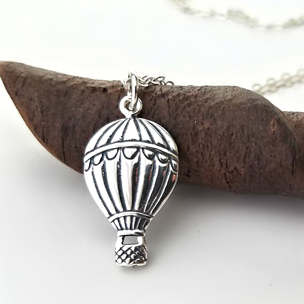 Sterling Silver Hot Air Balloon Charm Necklace -- EF0100
