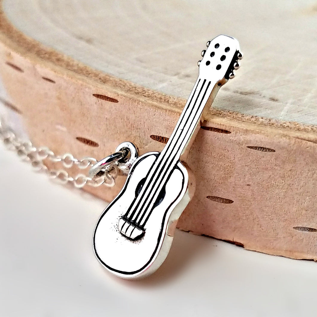 Sterling Silver Guitar Charm Necklace -- EF0107