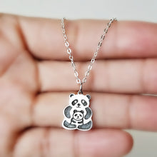 Load image into Gallery viewer, Sterling Silver Panda Bears Charm -- EF0108