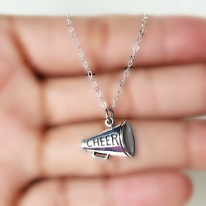 Sterling Silver Cheer Megaphone Charm Necklace -- EF0109