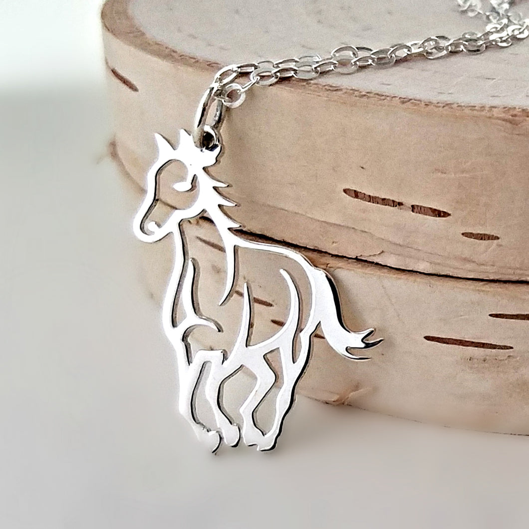 Sterling Silver Horse Charm Necklace -- EF0111