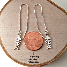 Load image into Gallery viewer, Sterling Silver Fishbone Ear Threader Earrings -- EF0114