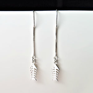 Sterling Silver Fishbone Ear Threader Earrings -- EF0114