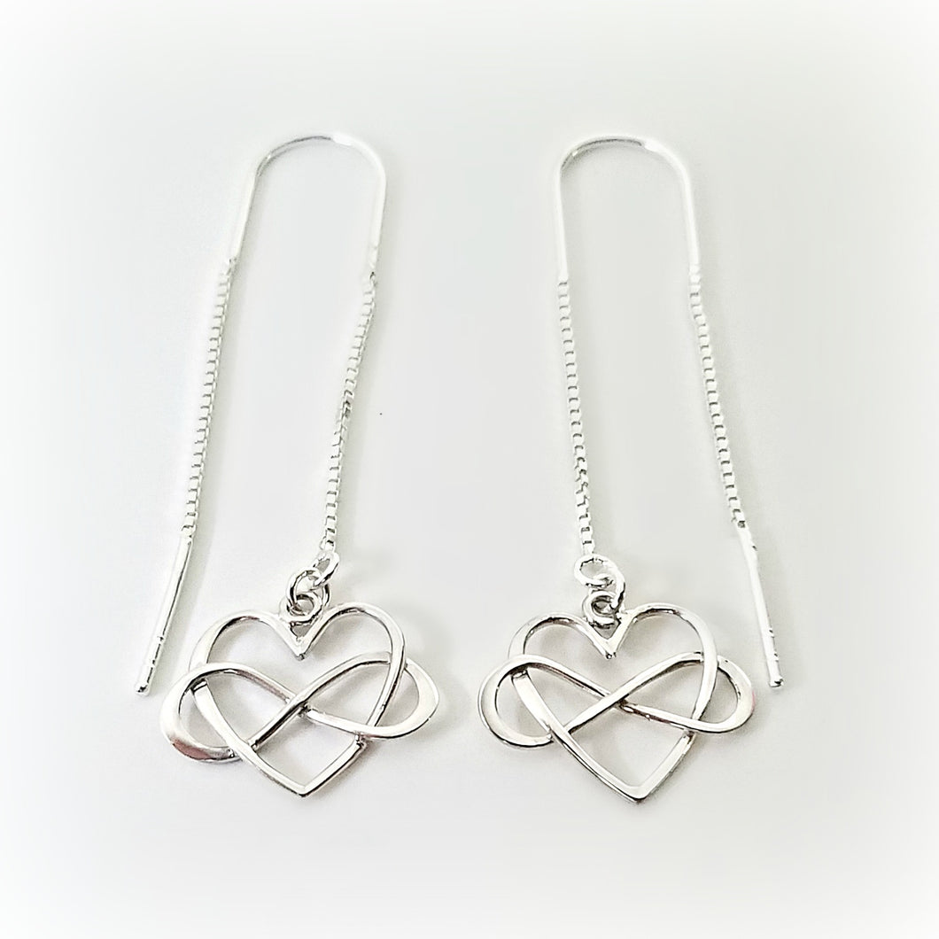 Sterling Silver Infinity Heart Ear Threaders -- EF0115
