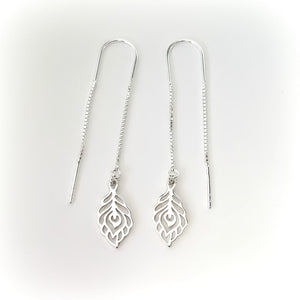 Sterling Silver Peacock Feather Ear Threaders -- EF0116