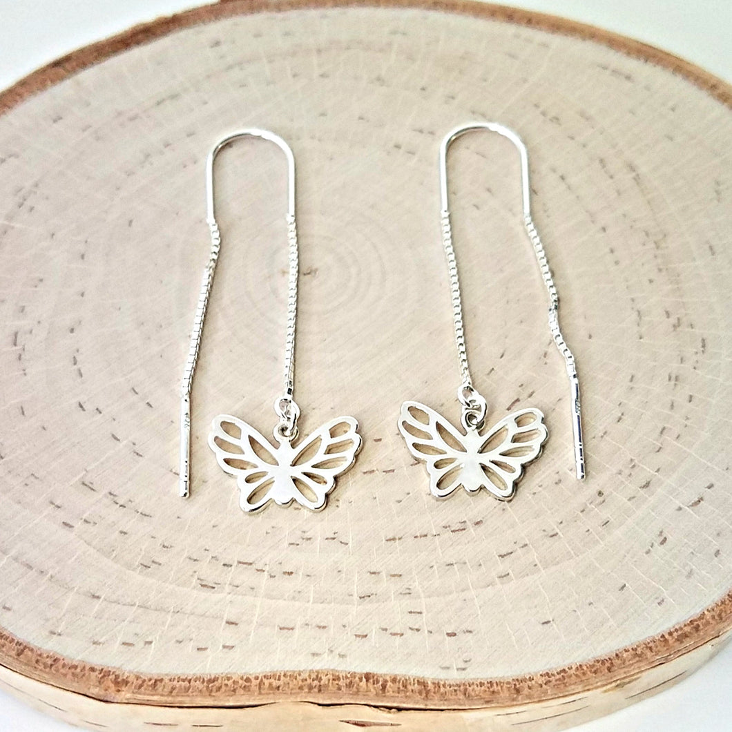 Sterling Silver Butterfly Ear Threaders -- EF0117
