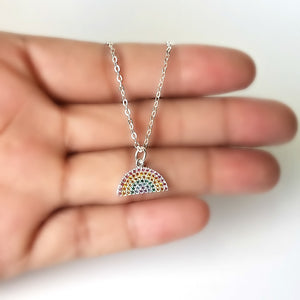 Sterling Silver Tiny Rainbow Charm Necklace -- EF0118