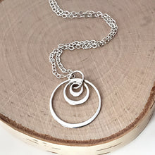Load image into Gallery viewer, Sterling Silver Triple Circle Necklace -- EF0120