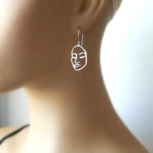 Sterling Silver Openwork Face Earrings -- EF0121