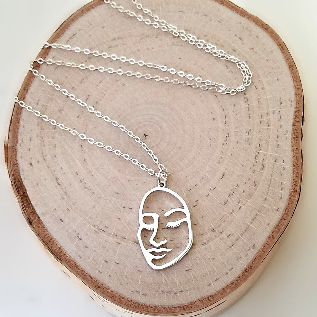 Sterling Silver Openwork Face Charm Necklace -- EF0122