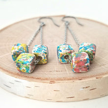 Load image into Gallery viewer, Stainless Steel & Ceramic Bead Dangle Earrings -- EF0128