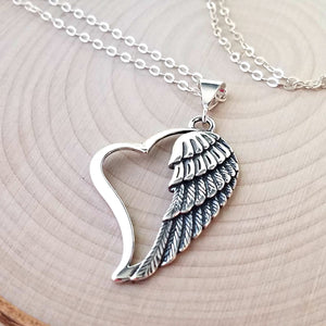 Sterling Silver Heart with Angel Wing Necklace -- EF0137
