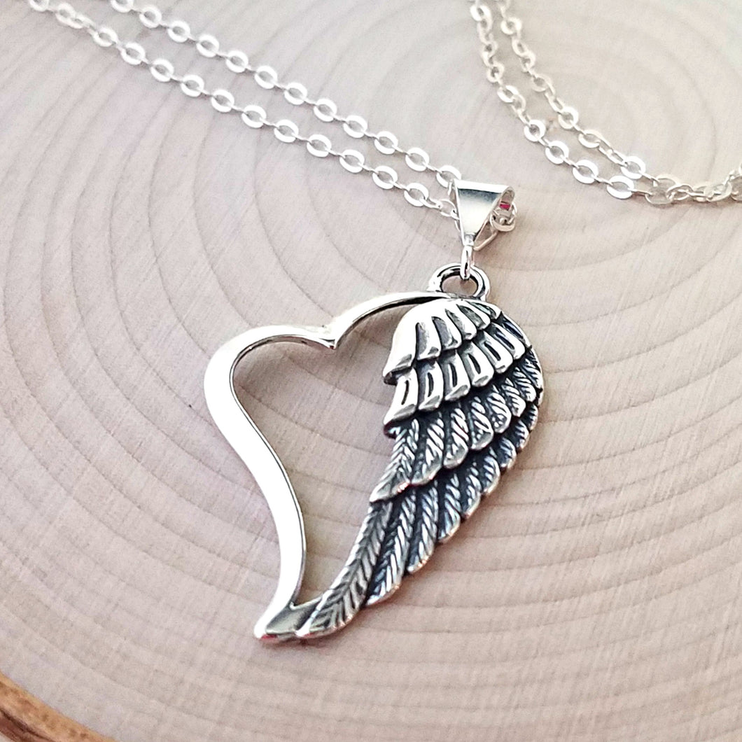 Sterling Silver Heart with Angel Wing Pendant -- EF0137