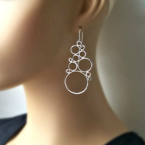 Sterling Silver Bubble Cluster Earrings -- EF0148