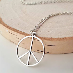 Sterling Silver Peace Sign Charm -- EF0157