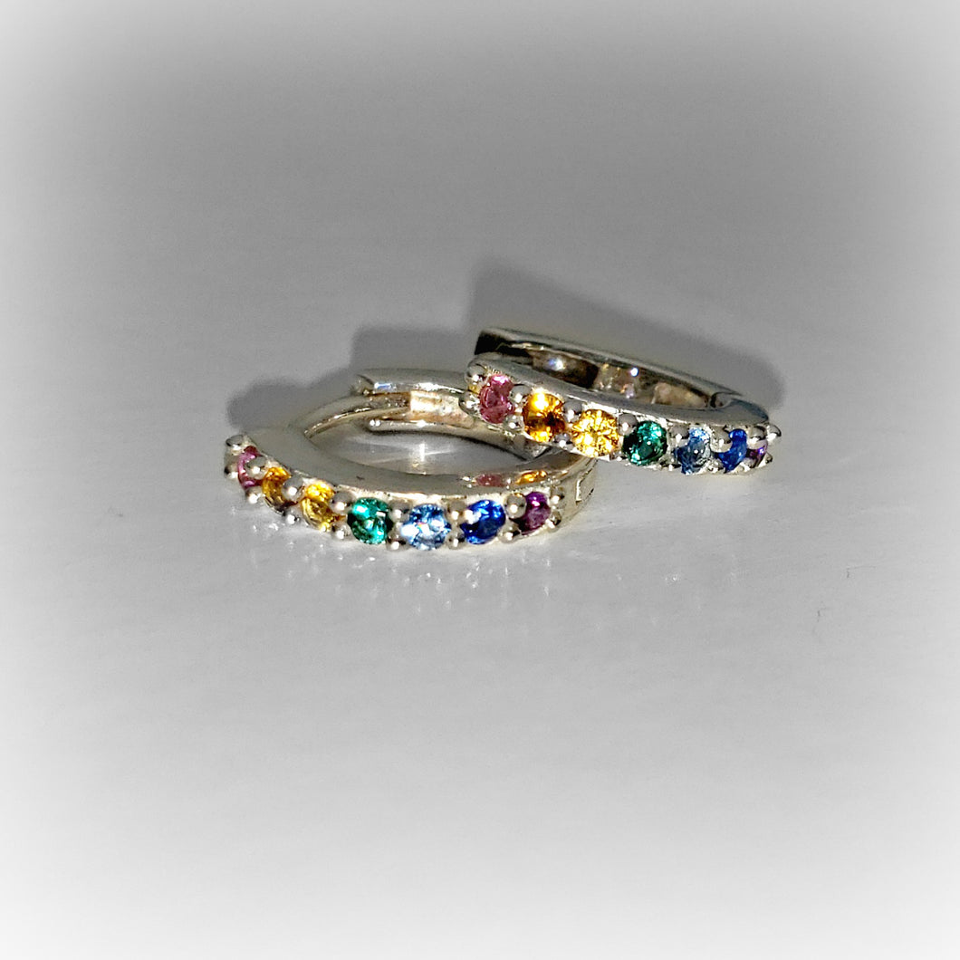 Sterling Silver Rainbow Huggie Hoops with Nano Gems -- EF0164