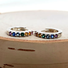 Load image into Gallery viewer, Sterling Silver Rainbow Huggie Hoops with Nano Gems -- EF0164