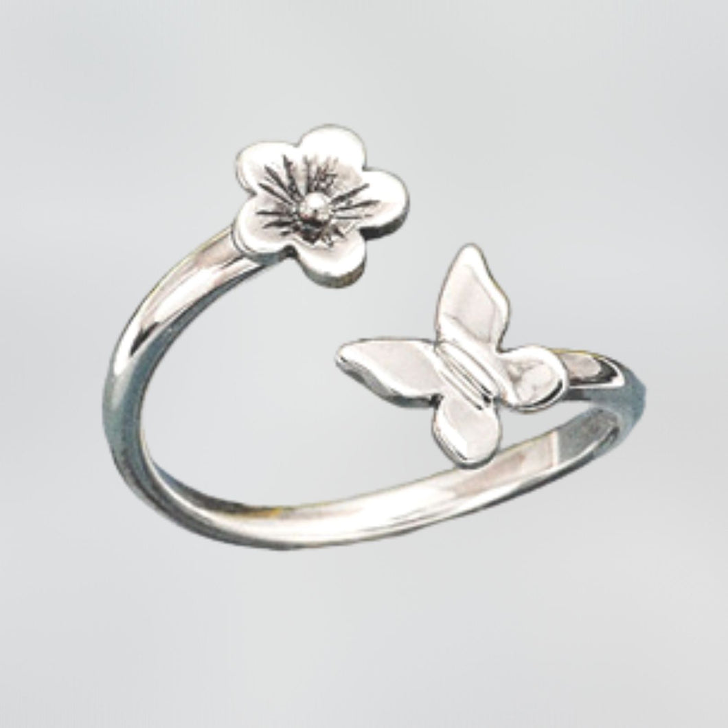 Sterling Silver Cherry Blossom and Butterfly Adjustable Ring -- EF0191