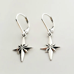 Sterling Silver North Star Dangle Earrings -- EF0192