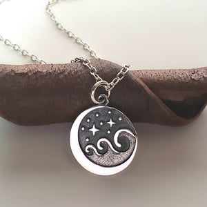 Sterling Silver Starry Night Wave Charm -- EF0197