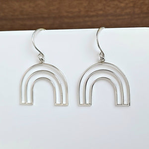 Sterling Silver Wire Rainbow Earrings -- EF0201