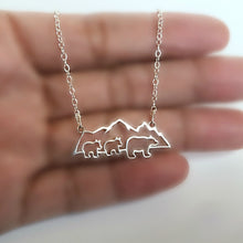 Load image into Gallery viewer, Sterling Silver Mountain with Bears Necklace -- EF0203
