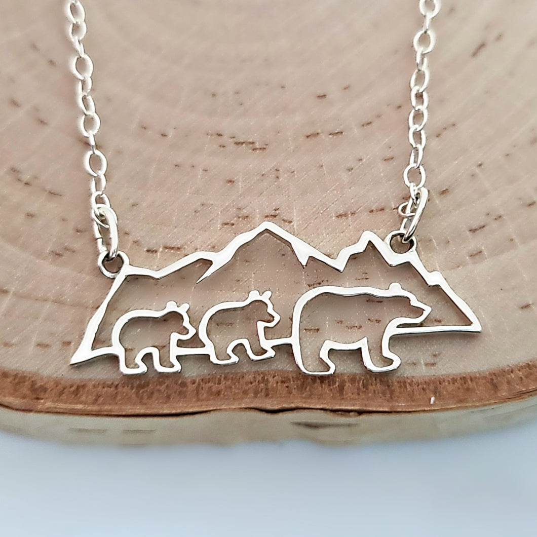 Sterling Silver Mountain with Bears Necklace -- EF0203