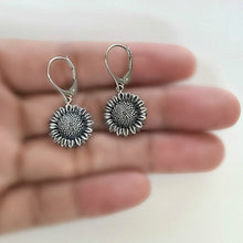 Load image into Gallery viewer, Sterling Silver Sunflower Dangle Earrings -- EF0204